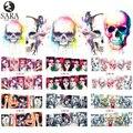 Sara Nail Salon 1 unids Pegatinas de Uñas Diseños de Patrones Cráneo de Halloween Sexy Diseño Señora Belleza Punta Llena de Uñas Adhesivos BN181-192