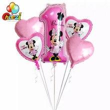5 шт Минни Микки на день рождения комплект воздушных шаров+ 18 дюймов звезды и сердце шары тема для дня рождения полная луна вечерние Декор поставки