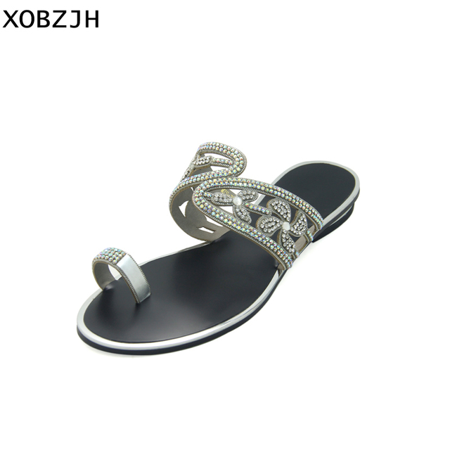 7dd933aa6 Italian Summer Women Shoes Flat Sandals 2019 Silver Rhinestone Sandals Open  Toe Ladies Party Shoes Woman Plus Size Us 11 XOBZJH