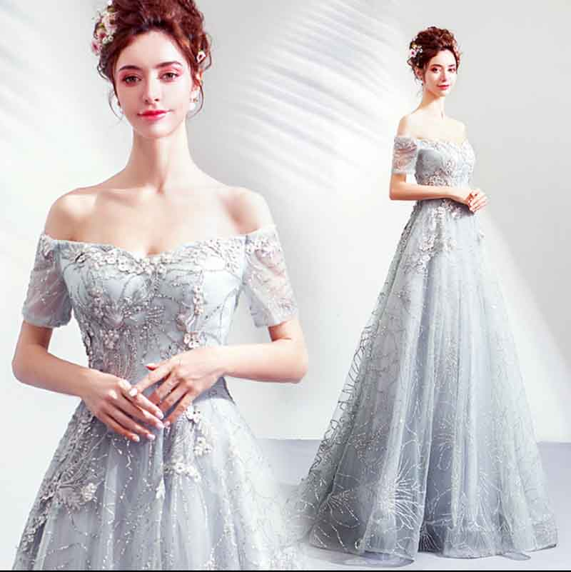 2019 Gray Strapless Prom Ball Gown Wedding Bridal Embroidery Luxury Evening Formal Party Dress For Lady