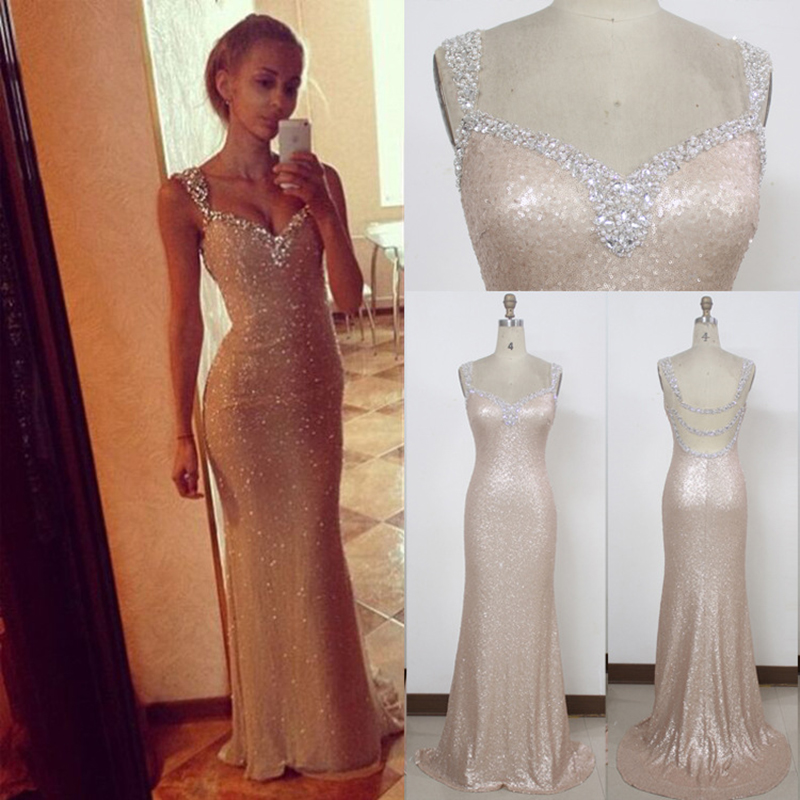 Doragrace robe de soiree High-End New Sexy Crystal Beaded Sequins Mermaid Champagne Evening Dresses DGE144