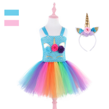 цена на Fancy Kids Girls Unicorn Tutu Dress Rainbow Princess Party Dress Flower Girls Halloween Pony Cosplay Costume Unicornio