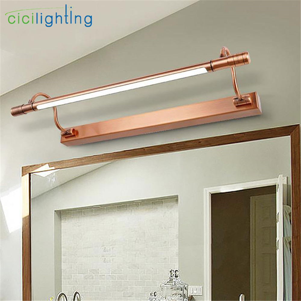 100V - 240V 6W 48cm Red Bronze LED European bathroom mirror light modern vanity LED wall lamp retro Industrial Kitchen lights
