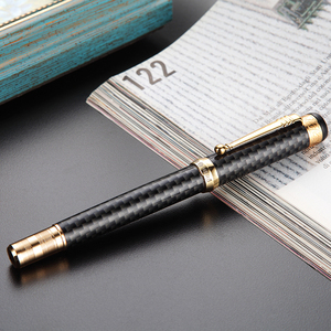 Image 5 - HERO 768 Carbon Fiber Grey Fountain Pen with Golden Clip Iridium Fine Nib 0.5mm Fashion Writing Ink Pen for Office Gift Business