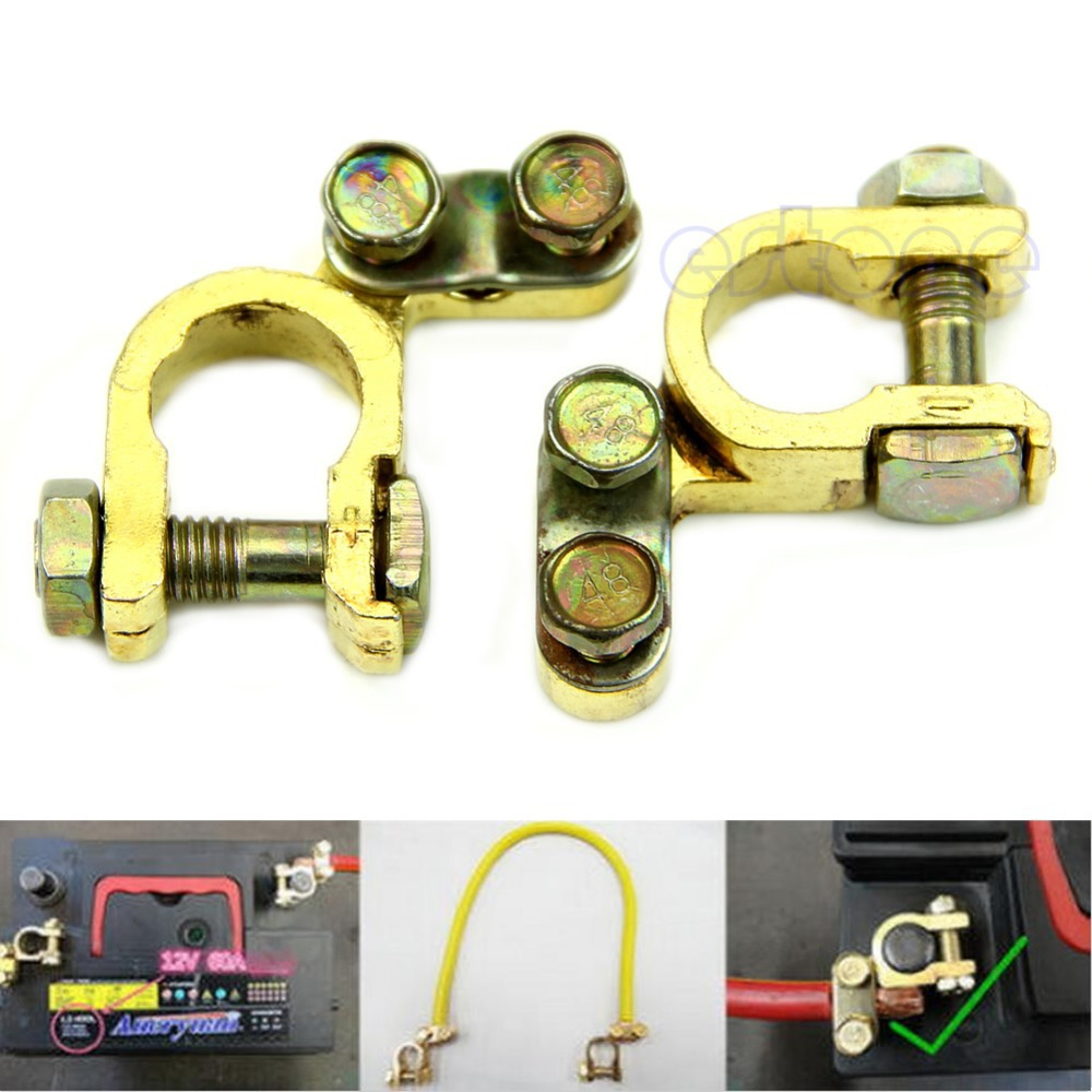 New 2pcs replacement auto car battery terminal clamp clips brass connector china