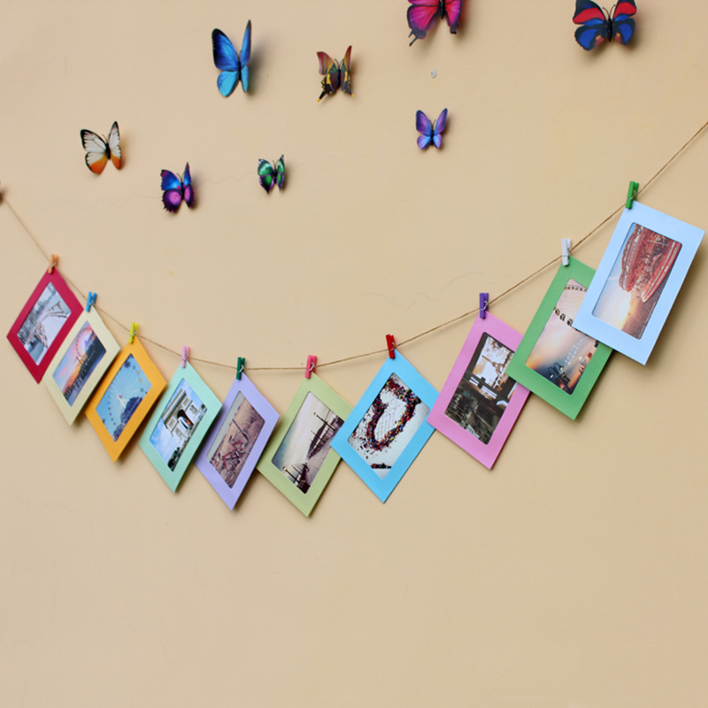 aliexpresscom buy diy cardboard photo frame with wood clips rope decoration home art wall for childrens room living room home decor from reliable