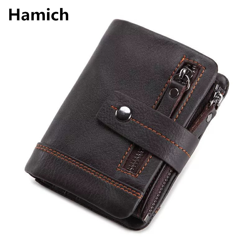Genuine Leather Wallet Men PORTFOLIO Male Portomonee Purse Coin Purse Pockets Brand Trifold Multifunction Male Card ID Holder contact s genuine cowhide leather men wallet trifold wallets fashion design brand purse id card holder with zipper coin pockets