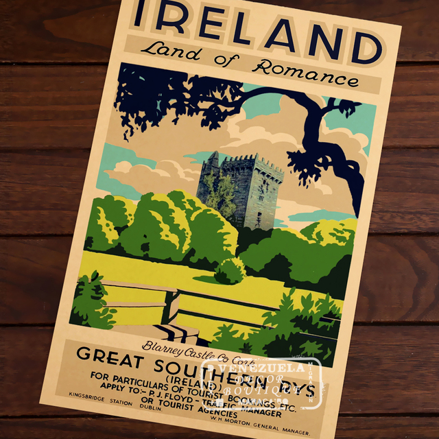 Ireland Land Romance Map Vintage Travel Poster Classic Retro Kraft Decorative Maps Wall Sticker Home Bar Posters DIY Decor Gift