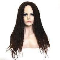 الزير الاصطناعية أومبير الباروكات للنساء السود الأفرو غريب مجعد الشعر مضفر طويل بني داكن/أسود واحد قضيب تويست خارج