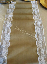 10pcs YHR#05 burlap and lace table runner for any events decoration, customized size available