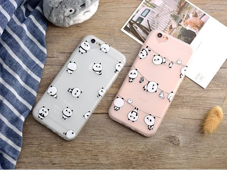 Hot Cartoon PandaHeart-shaped camera lens Underwear socks scrub tpu case for iPhone 6 6s case 6/6s plus 4.7 5.5 inch