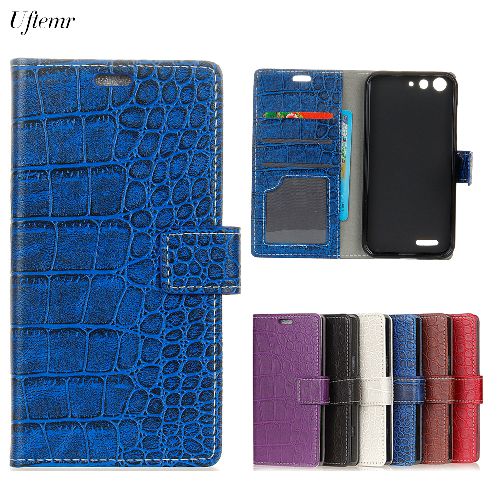 Uftemr Vintage Crocodile PU Leather Cover for ZTE Blade L6 Silicone Case for ZTE Blade L6 Wallet Card Slot Phone Acessories