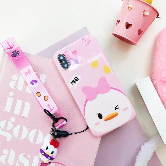 Cute Cartoon Phone Case With Strap For iPhone