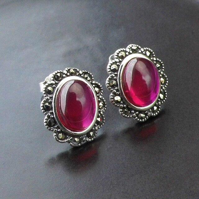 925 красный корунд серьгу для женщин ну вечеринку свадебные марказит S925 серебряные серьги ювелирных украшений LE91