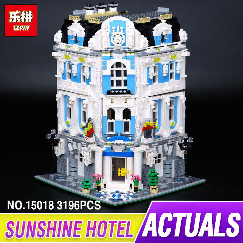 New 3196pcs Lepin 15018 MOC City Series The Sunshine Hotel Set Building Blocks Bricks Educational Funny Toys for children gift lepin 02012 city deepwater exploration vessel 60095 building blocks policeman toys children compatible with lego gift kid sets