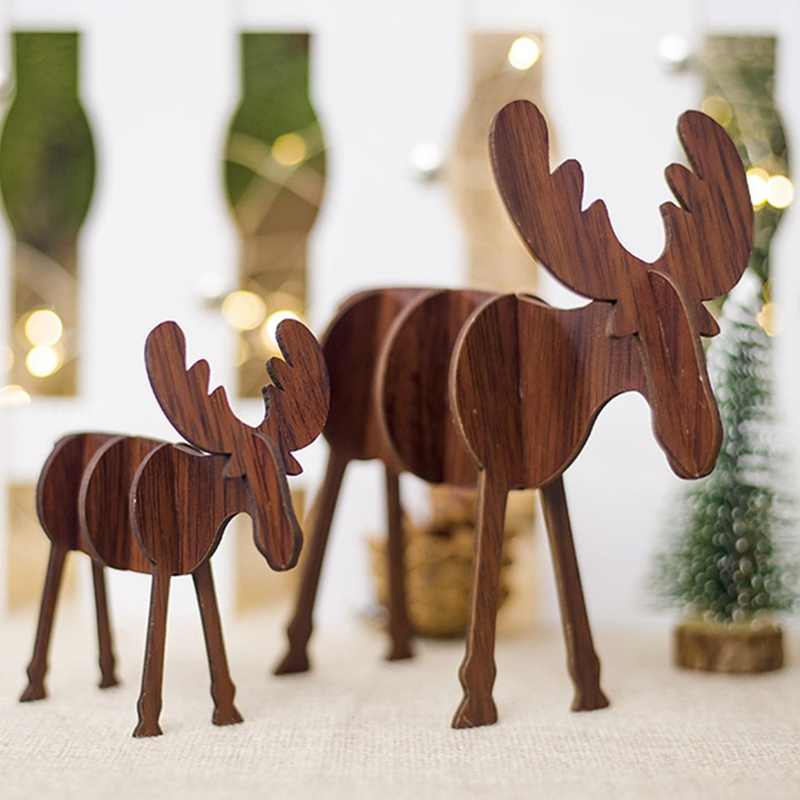1PC Christmas Wooden Deer Pendants Ornaments DIY Ornaments Xmas Tree Ornaments Kid Gift For Christmas Party Decoration