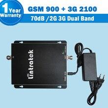 1 Años de Garantía de alta Ganancia 70dB GSM 900 3G Celular amplificador de Señal Booster 2G GSM 900 3G UMTS 2100 Teléfono Celular Amplificador Repetidores S34