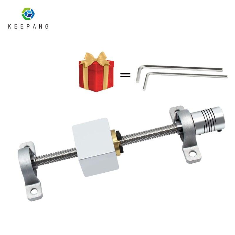 T8 jogo de parafuso de ligação 150/200/300/330/350/400/500mm chumbo 8mm haste de parafuso de ligação vertical & bloco de descanso montado rolamento para impressora 3d