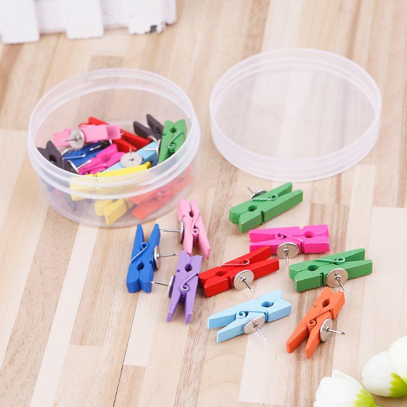 20pcs Colorful Wooden Laundry Clothes Clothespins Pins Practical  DIY Clip Craft Scrapbook Photo Paper Peg