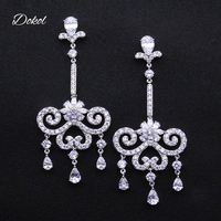 DOKOL Elegant Bridal Chandelier Earrings Clear AAA Cubic Zirconia Earring For Wedding Luxury White Gold Plated