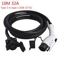 SAE J1772 тип 1 штепсельная розетка к тип 1 гнездо 32A с 10 м черный кабель EV зарядки инструменты для наращивания волос EV переходник для зарядного ус