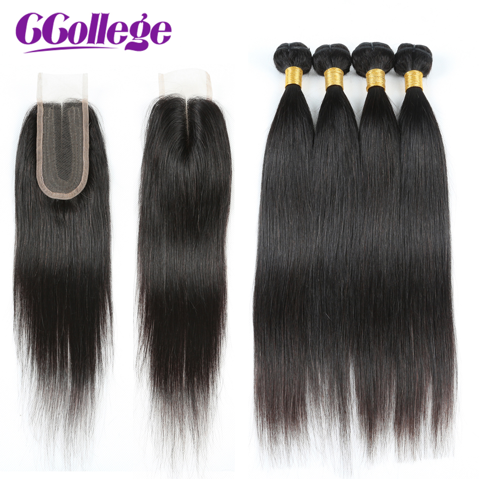 CCollege Straight Bundles With Closure 50g Brazilian Hair Weave Bundles With Closure Human Hair Bundles Non