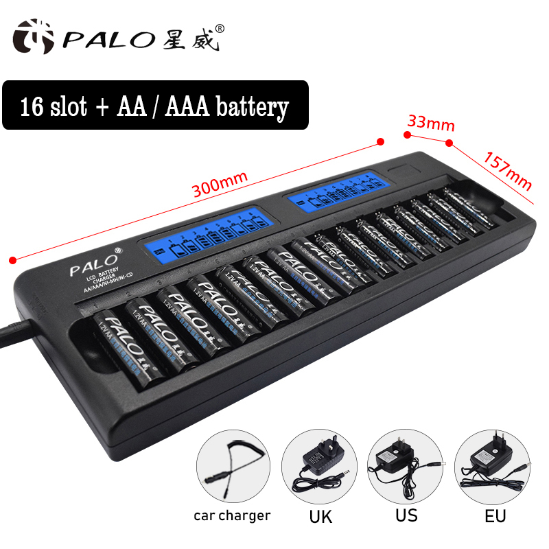 PALO LCD Light Smart 16 slot quick Charger For NI-MH NI-CD AA AAA Rechargeable Batteries+ AA/AAA battery For wireless microphone bty 1000 mini 1 2v aa aaa battery charger with 2 aaa 400mah ni mh batteries kit