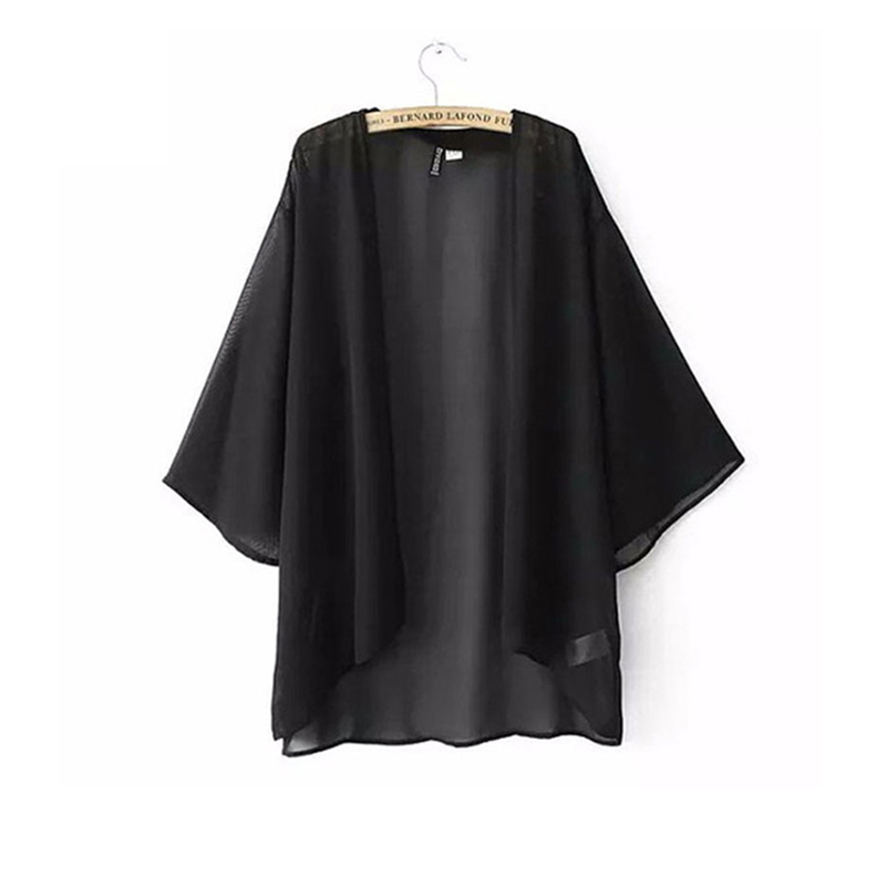 Chiffon Kimono Cardigan Casual 3/4 Batwing Sleeve Loose Black Women   Blouses     Shirts   Plus Size Summer Women Tops Outerwear top