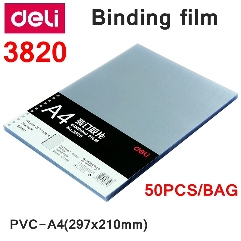 50PCS/LOT Deli 3820 PVC Binding Film A4 297x210mm Comb Binding Machine Suppliers 0.2mm A4 Transparent Binding Film