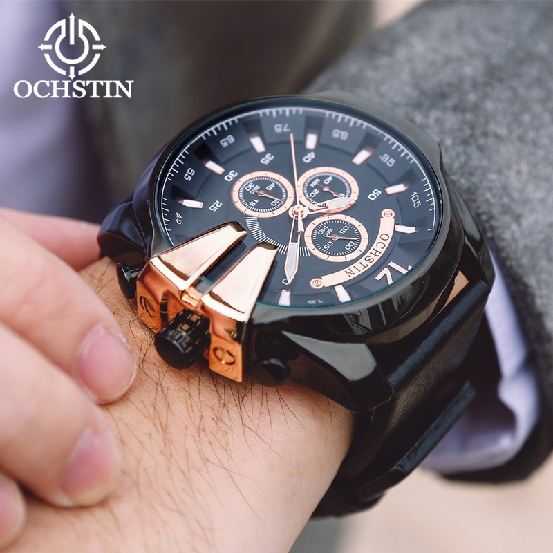 Men Watch Top Brand Luxury Leather Strap Chronograph Sport Mens Watches Military Quartz Wristwatch Male Clock