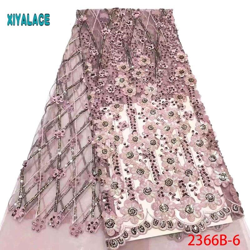Tela de encaje de boda africana de alta calidad 3d tela de encaje francés con cuentas bordado tela de encaje africano para 5 yardas PGC2366B 2-in encaje from Hogar y Mascotas    1