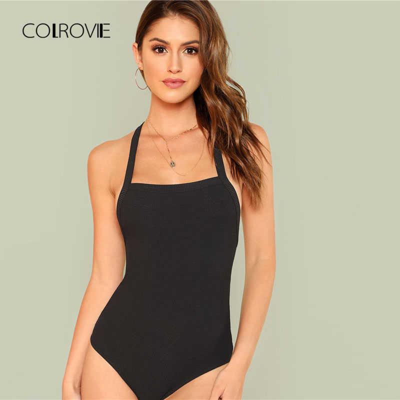 COLROVIE спинка крест-накрест однотонный комбинезон Новая летняя облегающая женская одежда без рукавов черные ремни эластичный сексуальный боди