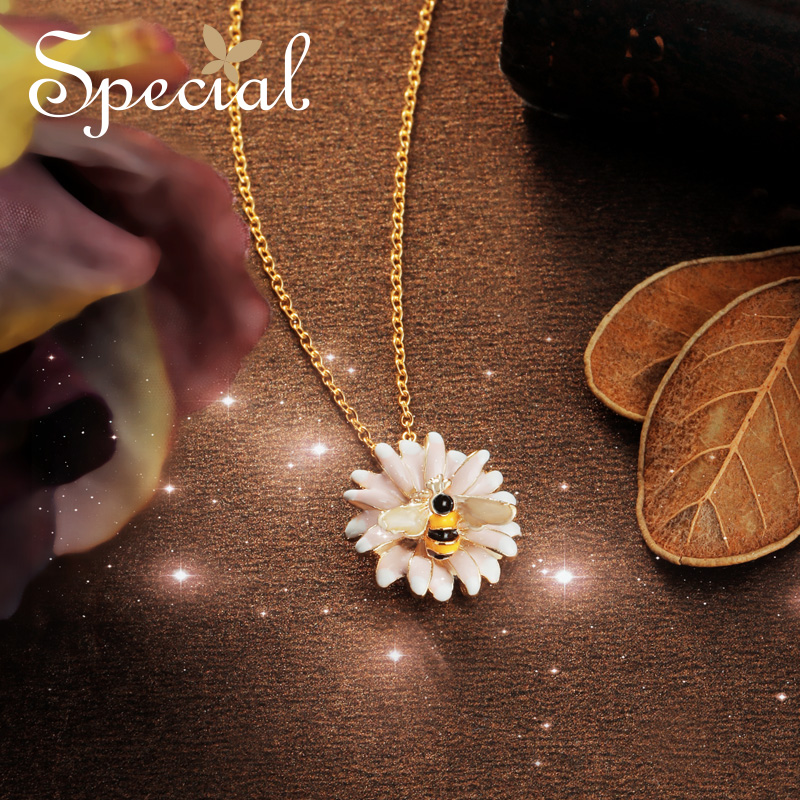 Special Fashion Enamel Bee Maxi Necklace Gold Necklaces & Pendants Romantic Flower Jewelry Gifts for Women S1739N