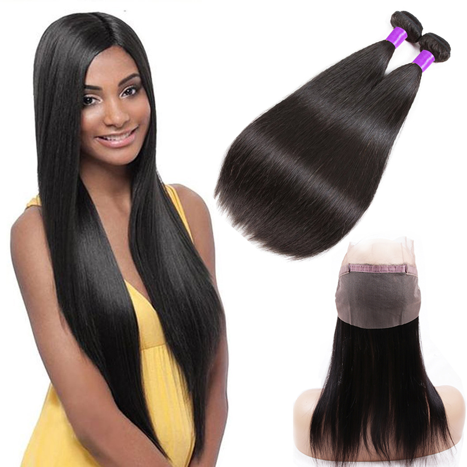 Piaoyi Straight Hair Bundles With 360 Lace Frontal Brazilian 2 Bundles Remy Human Hair With 360