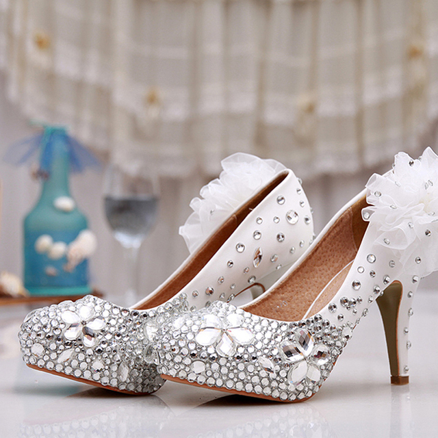 2016 handmade White rhinestone wedding shoes beautiful round toe flowers  dress bridal shoes high heel single shoes Free shipping c7bb77b42475