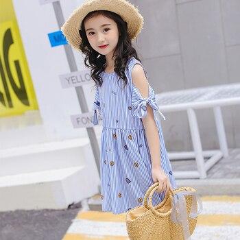 Azul niñas vestidos una línea del arco de los niños vestidos de verano  dulce de la muchacha vestido de ropa nueva ropa de impresión 2018 Fashion  Girl 6679124cbb7