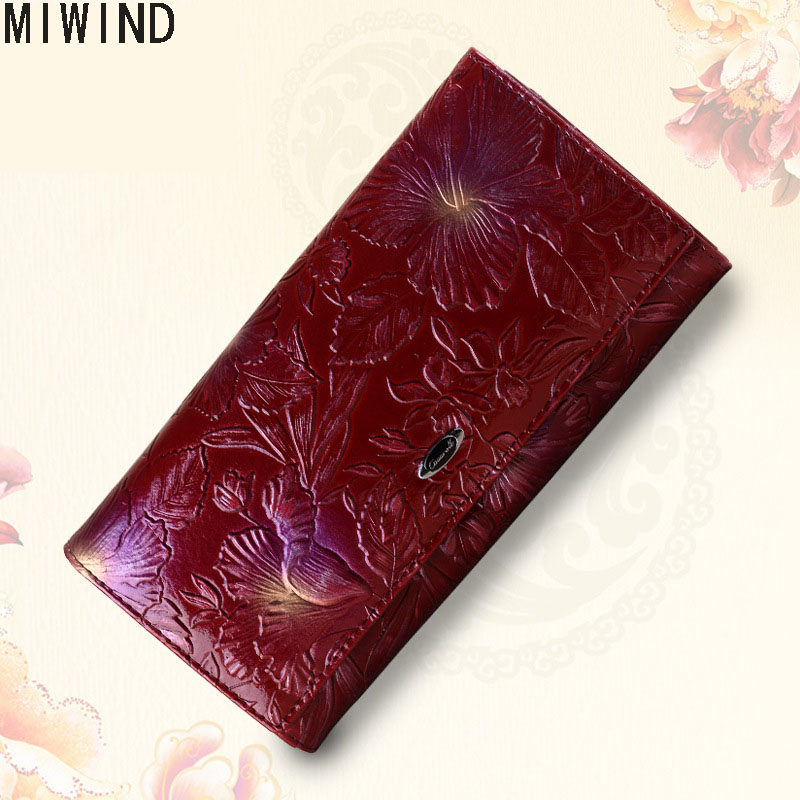 Famous Brand Floral Pattern Women Wallets Genuine Leather Design Long Purse Luxury Brand Female Coin Card Holder Purses TG1543 new women wallets genuine leather long design clutch cowhide wallet fashion female purse famous brand coin purse