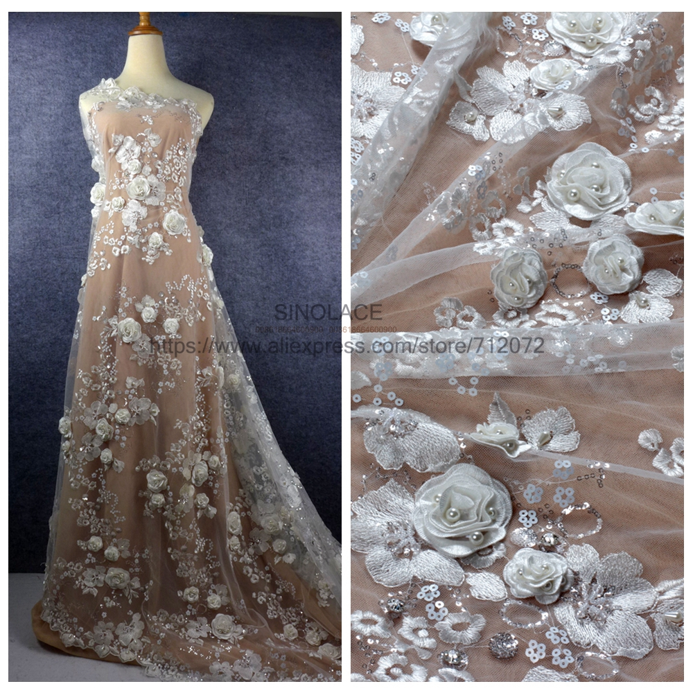 1 yard 1 yard off white handmade 3D flowers pearls wedding dress lace fabric 51 width