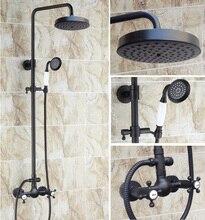 Brass Black Oil Rubbed Bronze Bathroom Rainfall Bath Shower Mixer Tap Faucet Dual Cross Handles Wall Mounted ars495