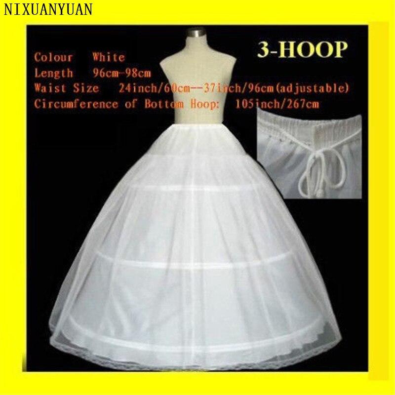 NIXUANYUAN FREE SHIPPING Hot Sale 50% Off 3 HOOP Ball Gown BONE FULL CRINOLINE PETTICOAT WEDDING SKIRT SLIP H-3