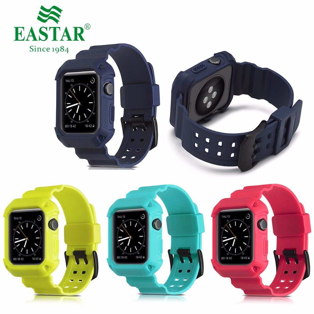Eastar Plastic Protective Colorful Case Shockproof Watchband for Apple Watch Serie 3/2/1 Sport 42 mm 38 mm Strap For iwatch Band стоимость