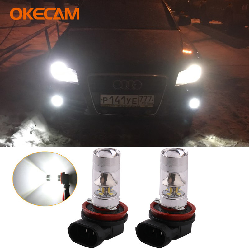 2pcs 100W H11 H8 LED Car Fog <font><b>Light</b></font> White Daytime Running <font><b>Lights</b></font> DRL Fog Lamp 12V For <font><b>Audi</b></font> <font><b>A3</b></font> A4 A5 A6 Q3 Q5 Q7 S4 S5 S6 2015 image