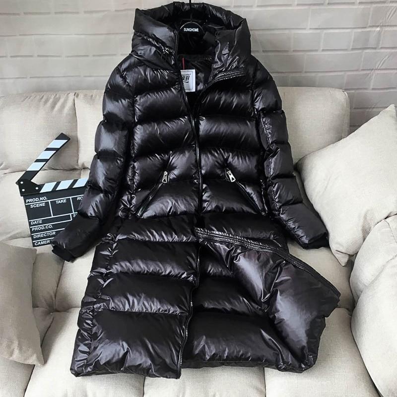 Kadın Giyim'ten Şişme Montlar'de AYUNSUE 90% beyaz ördek şişme ceket kadınlar kalın uzun kış ceket kadın kapüşonlu kore kadın balon ceket Doudoune Femme KJ727'da  Grup 2