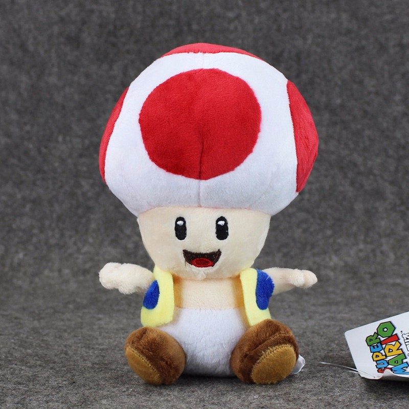1pcs 7'' 17cmCute Super Mario Bros Plush Toys Mushroom Toad Soft Stuffed Plush Doll with Sucker Baby Toy For Kids 9