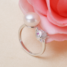 Real 925 sterling silver fox 9-10mm Freshwater Pearl ring with crystal animal design jewelry best gifts for girl