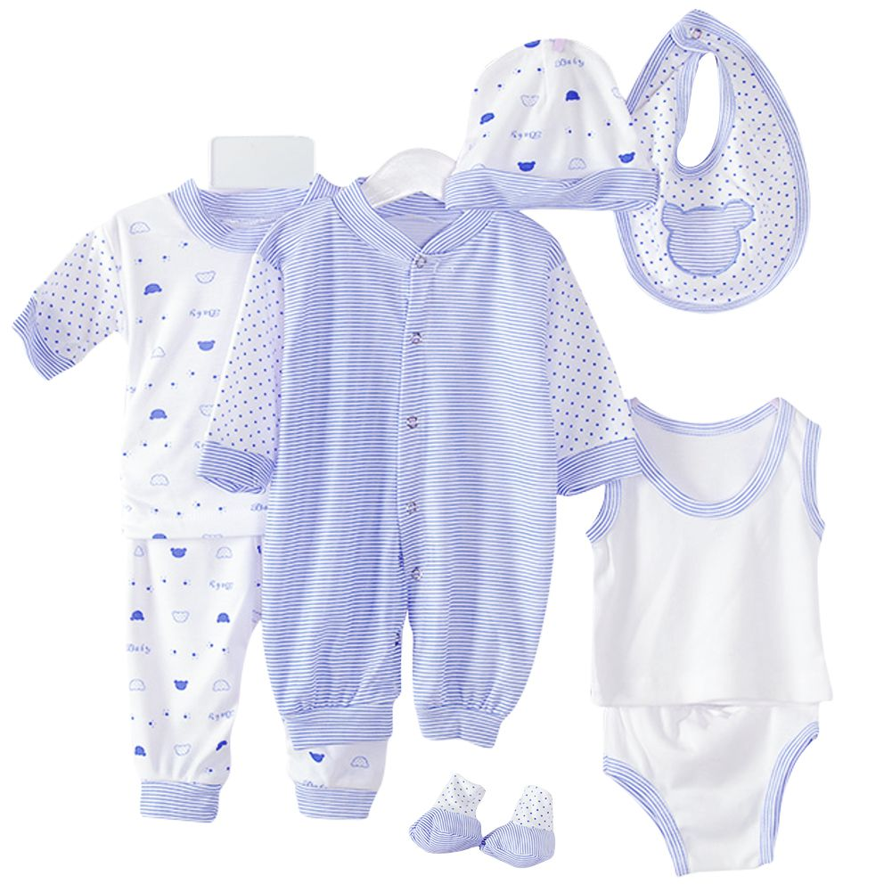 2018 Hot 8PCS Newborn Baby Cotton Striped Jumper+Hats+Socks+Bib+Tops+Pants Outfits 0-3M New Arrival