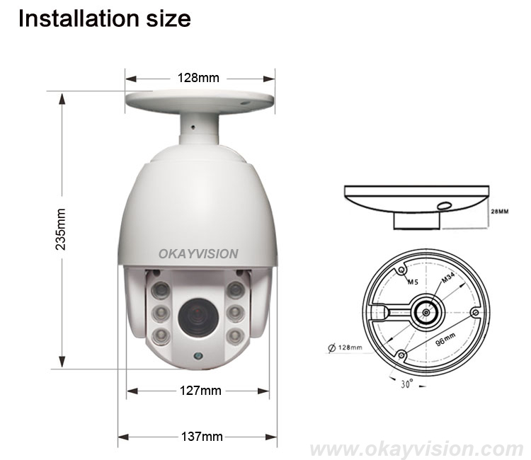 4inch 1.3 Megapixel 960P hd p2p LED ARRAY 4x optical zoom IP ONVIF Weatherproof PTZ Outdoor Network CCTV  IP PTZ Dome Camera