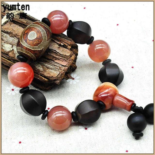 Yumten Diy Natural Round Stone Bracciali Men Bracelet Handmade Bangle Charm Bracelet Nice Gift Dzi Beads Erkek Bileklik Pulsera