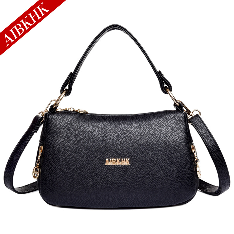 AIBKHK Shoulder Bags Handbags Women Famous Brands Fashion Genuine Leather Female Small Bag Casual Ladies Top-handle Bags Soft 2017 fashion all match retro split leather women bag top grade small shoulder bags multilayer mini chain women messenger bags