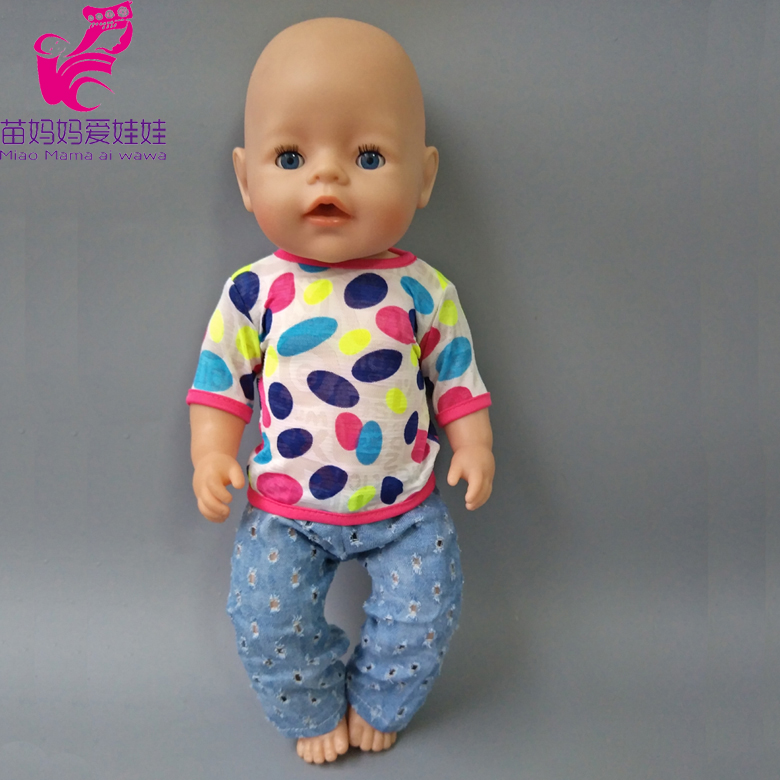 Doll shirt jean pants set for 43cm Zapf Baby new Born Doll clothes Suit for 18 inch Accessories Children doll Birthday Gifts 30 new styles festival gifts top trousers lifestyle suit casual clothes trousers for barbie doll 1 6 bbi00636